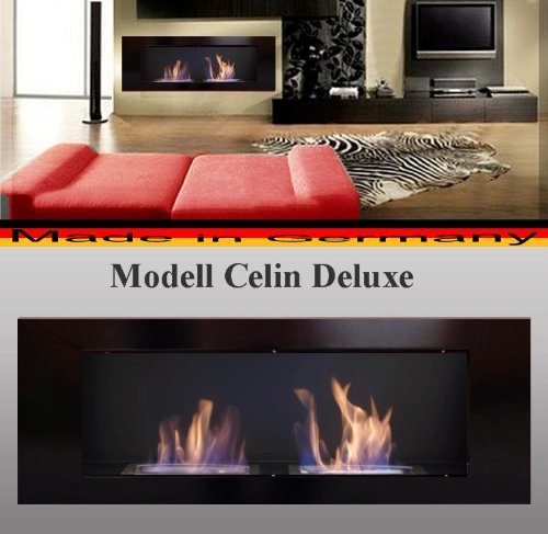 Fireplace Celin Deluxe / Color Black / Use with Bio-Ethanol and Fire Gel