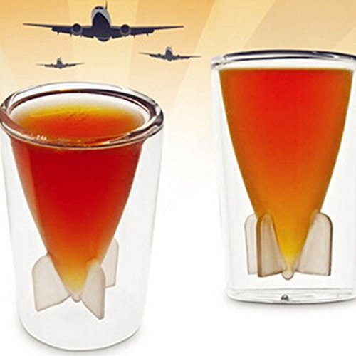 Silence-Shopping 2 Pcs Creative 44ml Bombs Away Inner Missile Shape Double Deck Glass Crystal Shot Beer Cup Missile Shot Wine Glass Cup