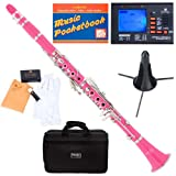 Mendini MCT-PK+SD+PB+92D Pink ABS B Flat Clarinet with Tuner, Case, Stand, Mouthpiece, 10 Reeds and More (Color: Pink)