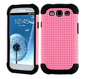 SOOPER Pink Mesh Defender Heavy Duty Protective Hard Full Body Cover Case for Samsung Galaxy i9300 S3 (Pink Mesh Case)