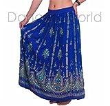 Royal Blue Ladies Indian Boho Hippie Gypsy Sequin Summer Sundress Maxi Skirt UK 8-14 FREE UK PP