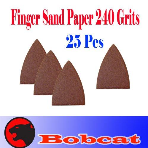 Pack 25 Sandpaper 240 Grits Sand Paper Finger Detail W/ Velcro Oscillating Multi Tool Saw Blades For Fein Multimaster Bosch Multi-X Craftsman Nextec Dremel Multi-Max Ridgid Dremel Chicago