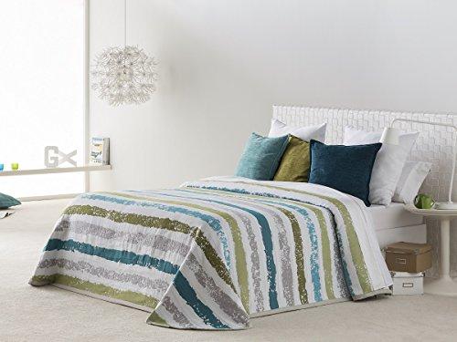 Textilhome Colcha Bouti KALAMOS, Tamaño 150cm - Color Turquesa
