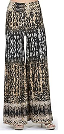 330 Tribal print, knit palazzo pants with a high fold-over waist and a wide leg S