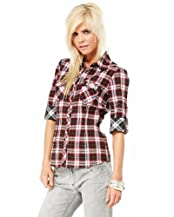 Contrast Plaid Snap Top