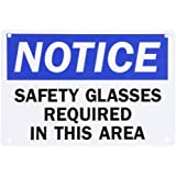 "SmartSign Plastic OSHA Safety Sign, Legend ""Notice: Safety Glasses Required in this Area"", 7"" high x 10"" wide, Black/Blue on White"