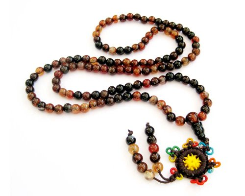 108 Agate Beads Tibetan Buddhist Prayer Japa Mala Necklace