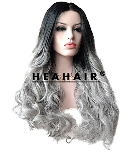 Heahair® Ombre Handtied Heat Resistant Full Head Wig Boby Weave Cosplay Synthetic Lace Front Wigs
