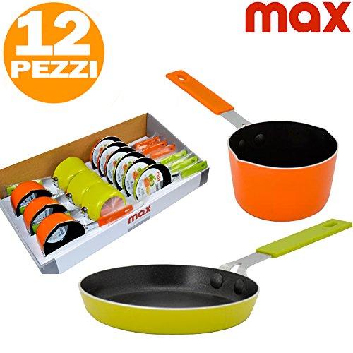 Set 6 Padelline Antiaderenti + 6 Pentolini Casseruola Manico Silicone MAX Cucina