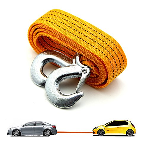 AUTOSUN 3 Ton Nylon Car Truck Towing Rope Cable for Heavy Duty Car Emergency Tow Pull Rope Strap Hooks Van Road Recovery