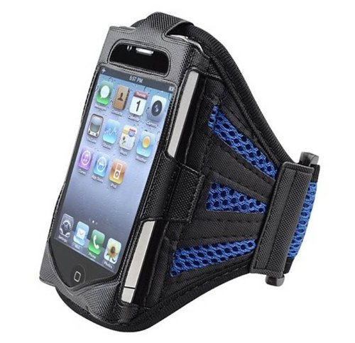 Compact Style maille bleu marine Courir Brassard Cover Case pour Apple iPhone 4 / 4S