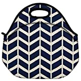 Snoogg Navy White Line Waves 2502 Travel Outdoor Carry Lunch Bag Picnic Tote Box Container Zip Out Removable Carry Lunchbox Handle Tote Lunch Bag Food Bag For School Work Office