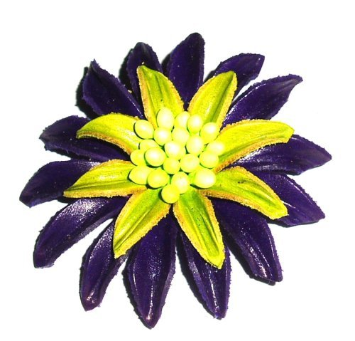 Tribe Leather Large Purple And Lime brooch / pin