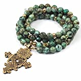 African Turquoise Ethiopian Coptic Cross Necklace - 32 inches Handmade Necklace by Miller Mae Designs