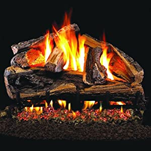 Peterson Real Fyre 30-inch Rugged Split Oak Log Set With Vented Natural Gas Ansi Certified G46 Burner - Variable Flame Remote