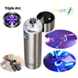 ELECTRIC PLASMA DUAL ARC LIGHTER- NEW 2017 DESIGN FOR PIPES, CIGARS, CIGARETTES & MORE - WINDPROOF TECHNOLOGY - USB Rechargeable - Gift Box and Cable Included (Triple Arc)