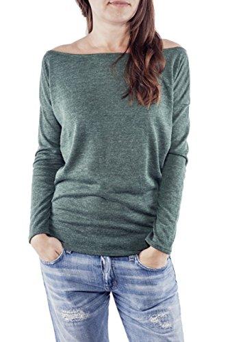 Ella Manue Ladies Women Roundneck Shirt Chloe Donna Maglietta, Size: S, Color: Bottle Green