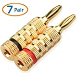 Cable Matters 7 Pairs, Closed Screw Banana Plugs for Speaker Cable