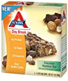 Atkins Day Break, Chocolate Hazelnut Bar, 5 - 1.04 oz Bars, ( pack of 2)