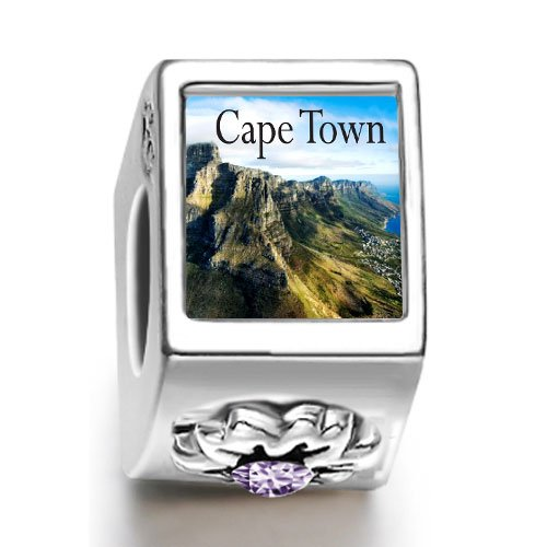 Soufeel Travel Cape Town February birthstone photo flower European charm bead