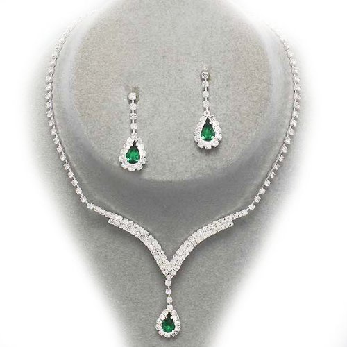 Bright green teardrop diamante necklace set