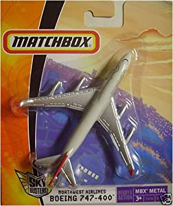 """Matchbox MBX Metal Sky Busters Mini (4.5"""" W x 4"""" L x 1.5"""" H) Die Cast Plane # 18 of 36 - Northwest Airlines Boeing 747-400"""