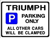 TRIUMPH Car Parking Sign - Gift for tr7 tr6 tr8 stag spitfire models - Size Large 205 x 270mm by Custom (Made in UK) (All fixing included)