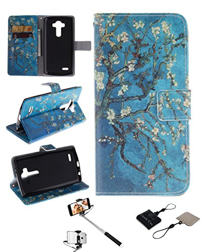 Click to buy LG G3 Wallet Case , Castle Cas [Almond Blossom Flower] Duplex Design Flip Card Slot Slim Fit Magnetic Premium Polyurethane Leather TPU Cover Case With Selfie Stick - Blue - From only $50