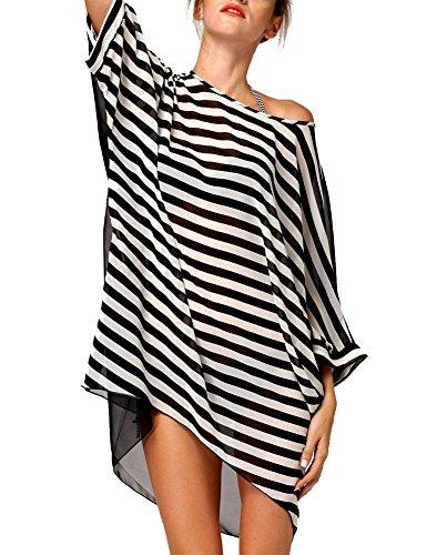 Sexy Women's Oversized Black-white Stripes Beach Bikini Swimwear Cover-up (Black-white) image