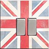 Double Light Switch Plate - Vintage design, 85 x 85mm - Union Jack Design