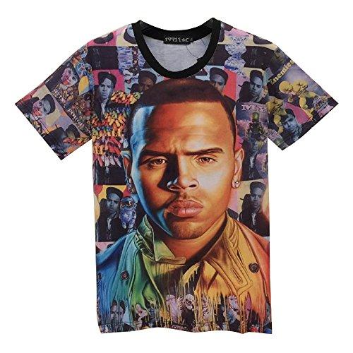 T-shirt 3D Print Chris Brown Short Sleeves Funny (S)