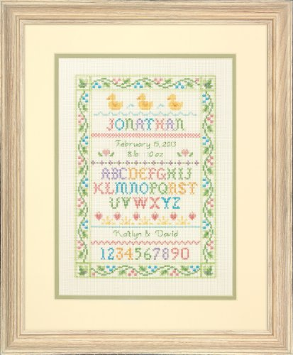 Dimensions Needlecrafts Counted Cross Stitch Kit, Alphabet Sampler Birth Record front-254626