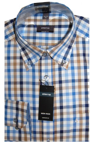 Eterna Casual Mens Shirt 3016/10 E244 Blue (Large 41/42)