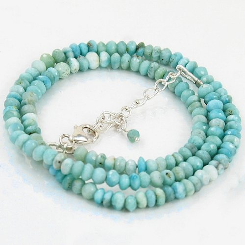 925 Sterling Silver 6mm Natural Larimar Beads Strand Necklace Size 18 Inches