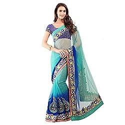 Purple And Blue With Chiffon Designer Lehenga Saree