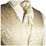 Paul-Malone-Hochzeitsweste-Set-5tlg-champagner-florales-Muster