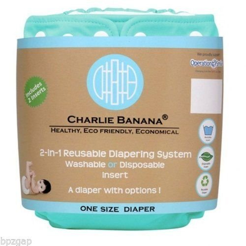 Charlie Banana One Size Belly Wrap Reusable Diaper In Aqua 2 Inserts front-825180