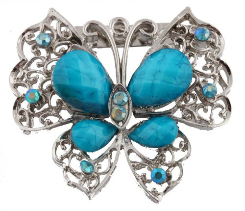 Ladies Silver with Blue Butterfly Brooch & Pin Pendant with Pear Shape Stones