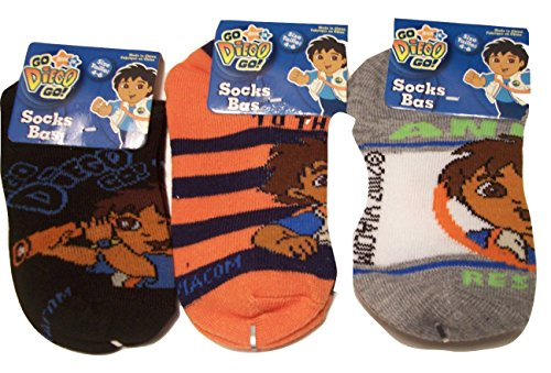 Diego 3 Sock ~ Size 4-6 (Telescope On Black, Orange-Black Stripe, Animal Rescue)
