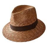 [田中帽子]UKH002 国産・中折れ麦わら帽子 つば広 メンズ ハット アウトドア 伝統工芸 [2色][日本製]