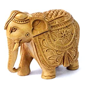 Exquisite Hand Carved Wooden Indian Royal Elephant Figurine Statue