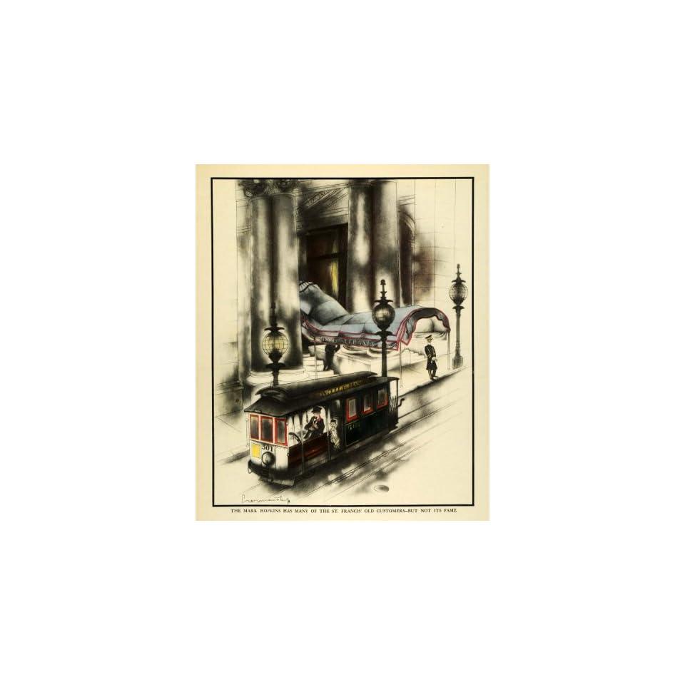 1933 Print Mark Hopkins St. Francis Rail Hotel Bell Boy San Francisco California   Original Color Print