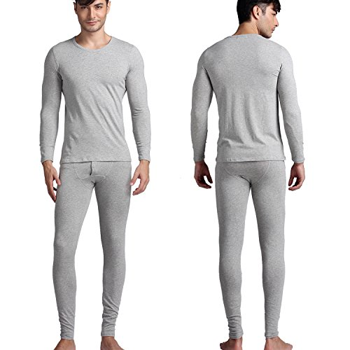 Godsen Men's Thermal Underwear Set Top & Bottom Fleece Lined (M, Heathey Grey) (Mens Thermal Leggins compare prices)