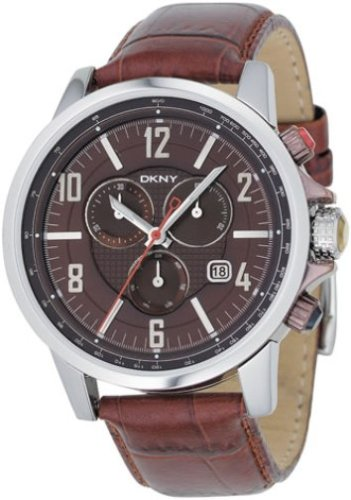 DKNY NY1324 Gents Stainless Steel Round Chronograph, Brown Dial and Brown Leather Strap Watch