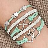 Leather Wrap Bracelets Girls Womens Double Hearts Infinity Rope Wristband Bracelets Jewelry Gifts (Peridot)