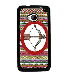 PrintDhaba Bow and Arrow D-3024 Back Case Cover for HTC ONE M7 (Multi-Coloured)