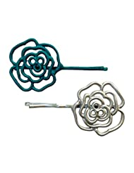 B-Fashionable Blue & White Grill Flower Bobby Hair Pin For Women-BP-9-B-W