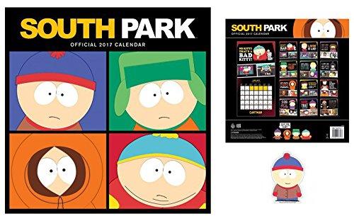 Set: South Park, Calendario Ufficiale 2017 (30x30 cm) E 1x Sticker Adesivo (9x9 cm)