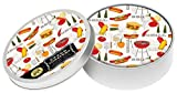 Michel Design Works 4-Inch Pulpboard Paper Coasters, Barbecue, Tin of 12