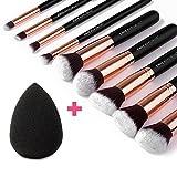 CHIC REPUBLIC 10 Piece Kabuki Contouring Makeup Brush Set with Beauty Sponge Blender, Rose Gold